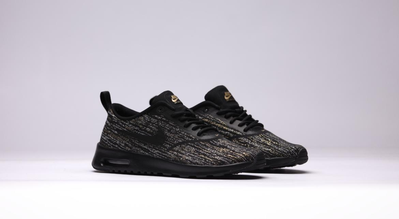 Women's Nike Air Max Thea Jcrd Black & Metallic Gold Size 7.5 (654170 002)