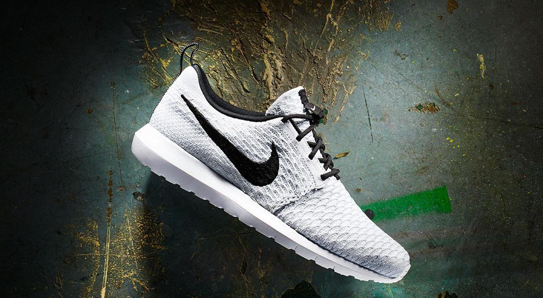Nike Flyknit Roshe Run NM 677243 101 White Black Wolf Grey