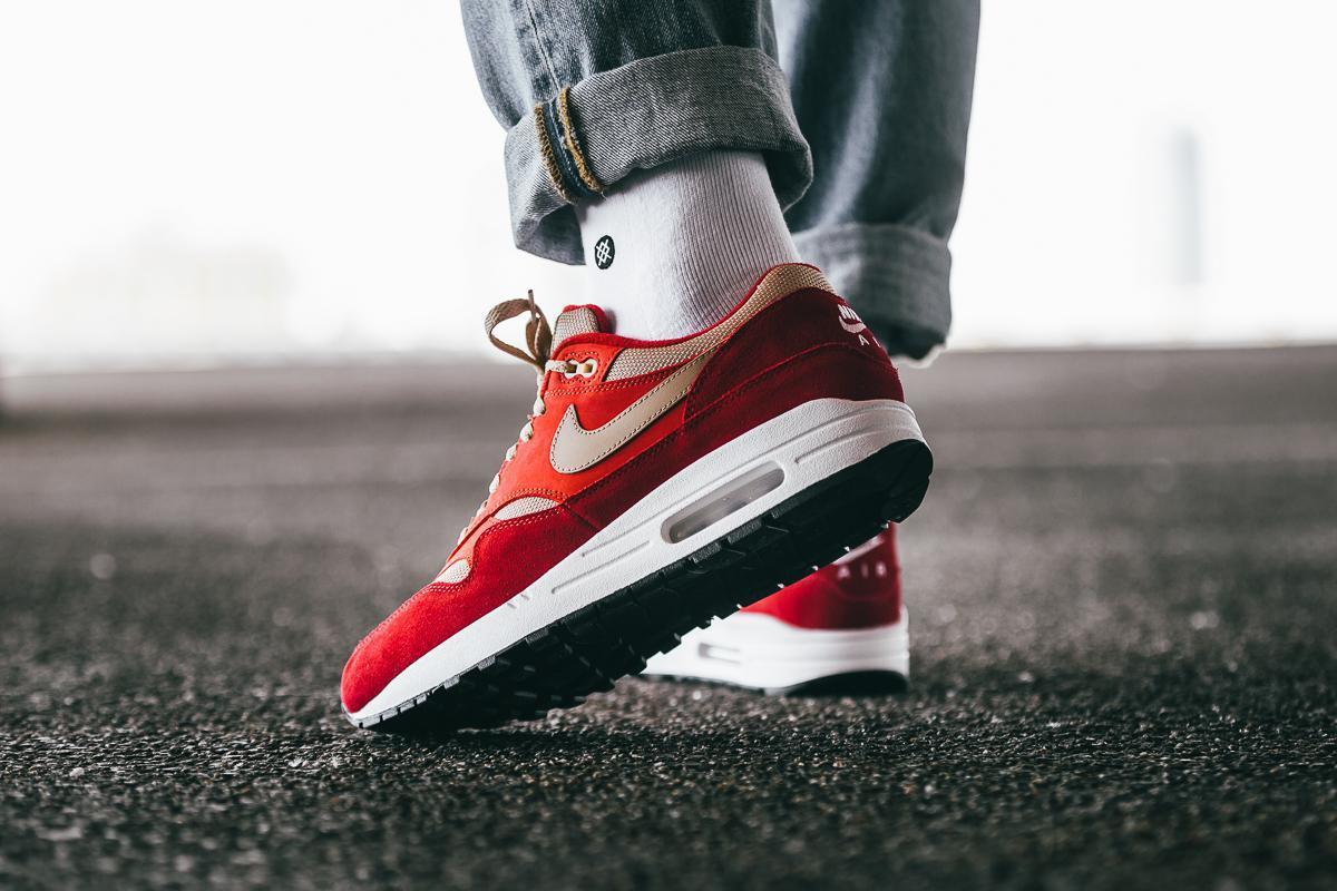 Nike Men's Air Max 1 Premium Retro Tough Red Mushroom Rush Red