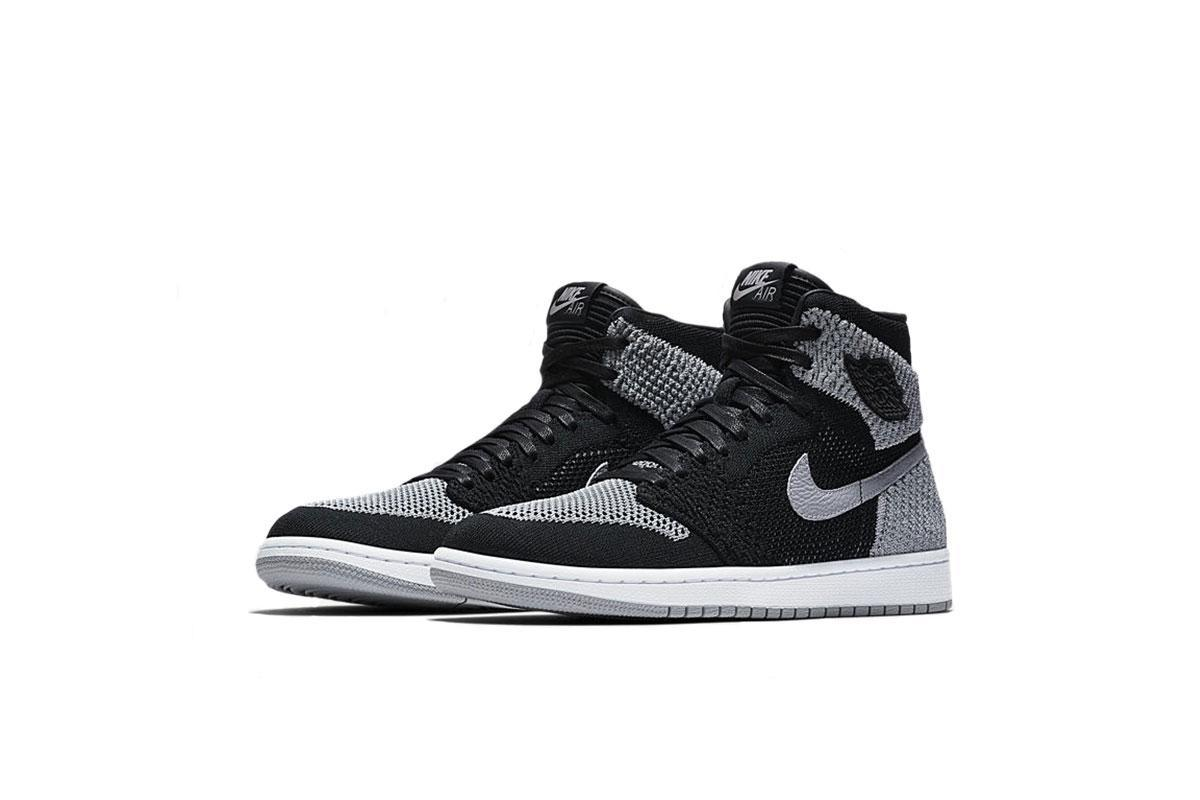 Size: 5.5Y Nike Jordan Kids Air 1 Retro Hi Flyknit BG Black//WolfGrey//White 919702-003