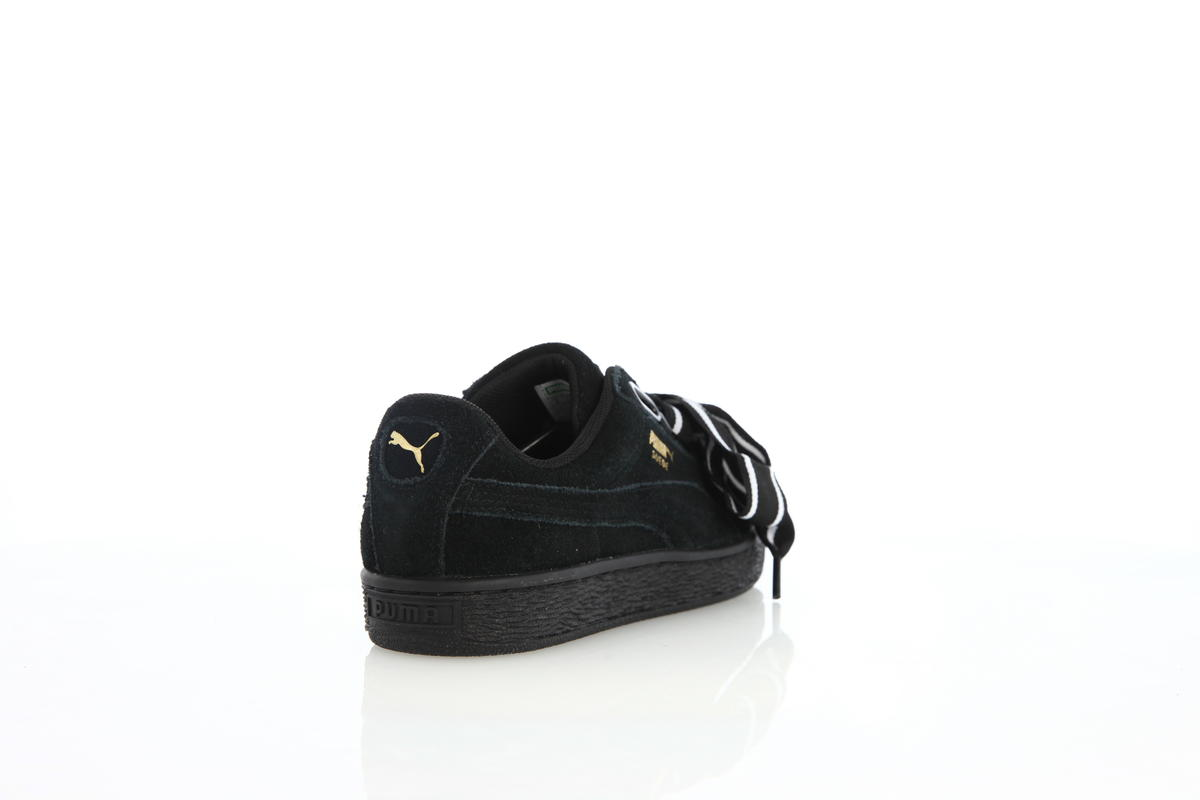 Puma Suede Heart Satin II Womens Puma Black | 364084 01