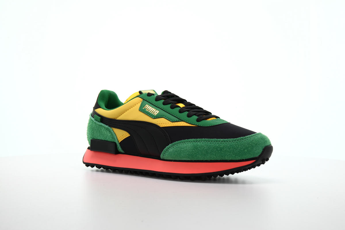 puma suede black green yellow